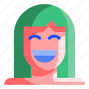 avatar, face, female, happy, people, smile, woman icon