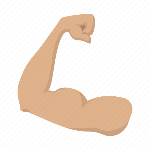 arm, bicep, cartoon, hand, muscle, muscular, sport icon