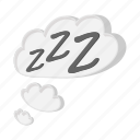 bubble, cartoon, cloud, muscle, night, sleep, zzz icon
