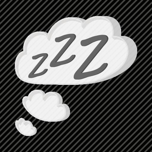 bubble, cartoon, cloud, muscle, night, sleep, zzz icon