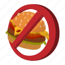 cartoon, fast, food, forbidden, hamburger, no, stop icon