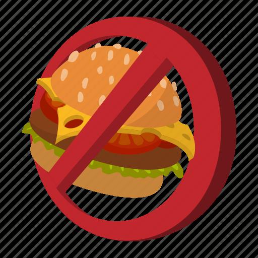 cartoon, fast, food, forbidden, hamburger, no, stop icon