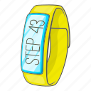 app, cartoon, hand, pedometer, sign, smartwatch, wrist icon