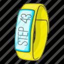 app, cartoon, hand, pedometer, sign, smartwatch, wrist