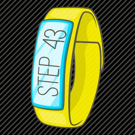 App, cartoon, hand, pedometer, sign, smartwatch, wrist icon - Download on Iconfinder