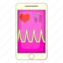 app, beat, cartoon, heart, object, sign, smartphone icon