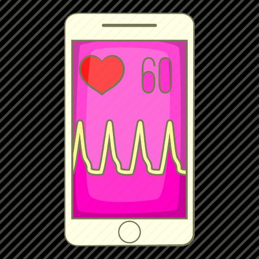 app, beat, cartoon, heart, object, sign, smartphone icon