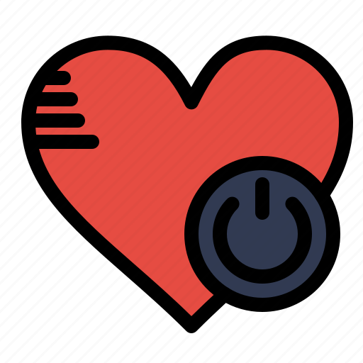 heart, like, off, shutdown, switch icon
