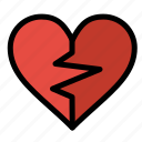 broken, favorite, heart, like, love icon