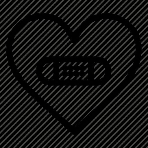 heart, hurt, like, love, plaster icon
