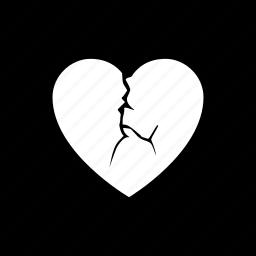 break, breakup, divorce, heartbroken, separate icon