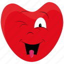 day, emoji, emoticon, heart, love, surprised, valentines icon