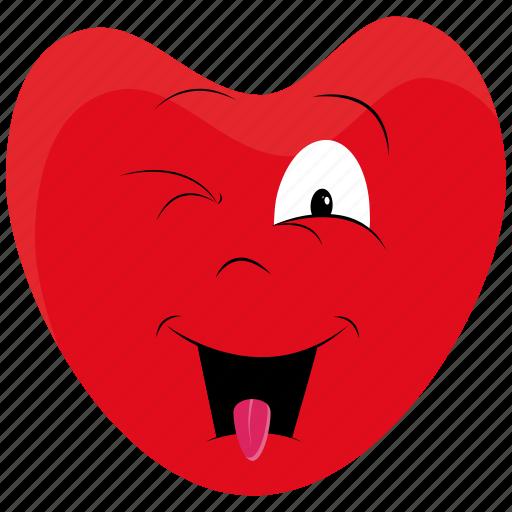 day, emoji, emoticon, heart, love, surprised, valentines icon