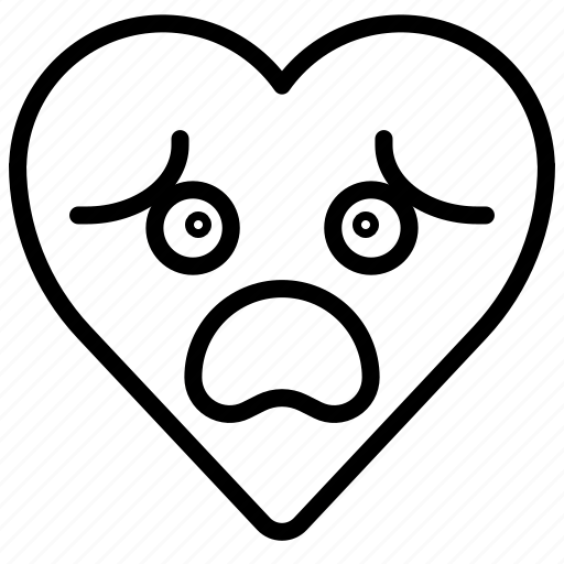 disappointed, emoji, emotion, fail, heart, nervous icon