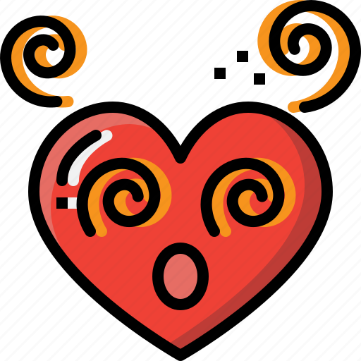 Dizzy, emoji, emotion, feeling, heart, love, valentine icon - Download on Iconfinder