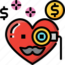 emoji, emotion, feeling, heart, love, rich, valentine icon