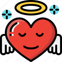 angel, emoji, emotion, feeling, heart, love, valentine icon