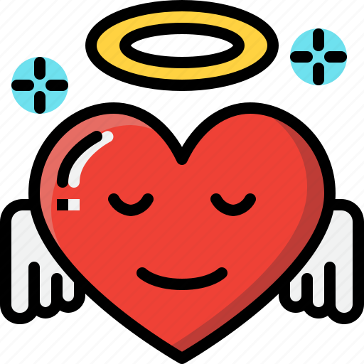 Angel, emoji, emotion, feeling, heart, love, valentine icon - Download on Iconfinder