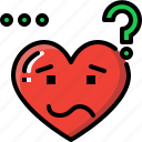 confused, emoji, emotion, feeling, heart, love, valentine