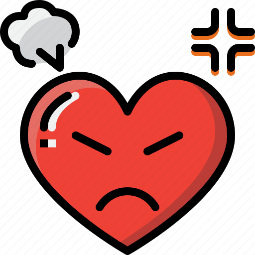 angry, emoji, emotion, feeling, heart, love, valentine icon