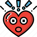 emoji, emotion, feeling, heart, love, surprised, valentine icon