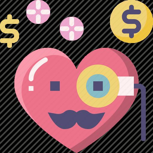 Emoji, emotion, feeling, heart, love, rich, valentine icon - Download on Iconfinder