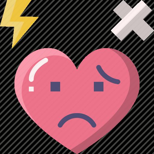 emoji, emotion, feeling, heart, hurt, love, valentine icon