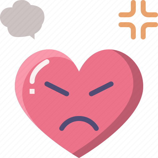Angry, emoji, emotion, feeling, heart, love, valentine icon - Download on Iconfinder