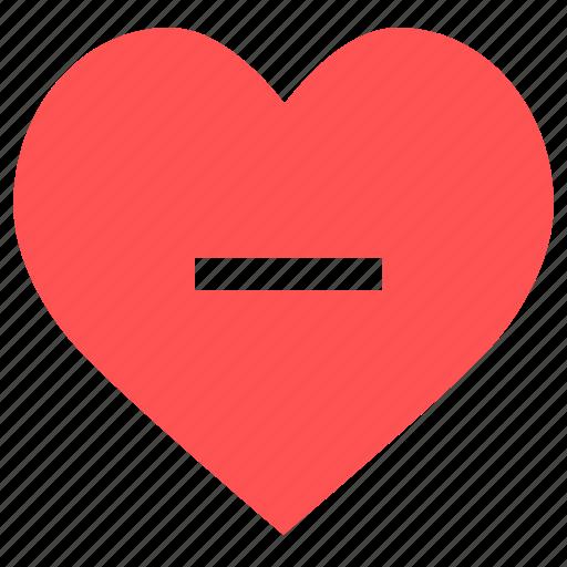Delete, heart less, minus, minus heart, remove heart, close, remove icon - Download on Iconfinder