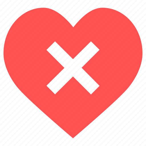 Cancel, delete, heart, heart cancel, stop, close, remove icon - Download on Iconfinder
