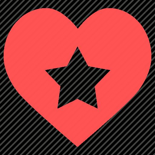 favorite, heart, heart star, love, romantic, star, valentine icon