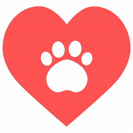 animal, care, cute, heart, heart paw, paw, pet icon