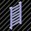 rail, wall, isometric, cartoon, towel, heated, water icon