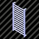 rail, electric, isometric, cartoon, towel, heated, water icon