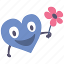 boy, flower, giving, happy, heart, valentine icon