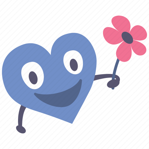 boy, flower, giving, happy, heart, valentine icon