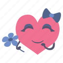 flower, girl, happy, heart, shy, valentine
