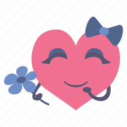 flower, girl, happy, heart, shy, valentine icon
