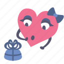 gift, girl, heart, present, surprised, valentine icon