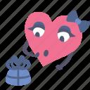 gift, girl, heart, present, surprised, valentine