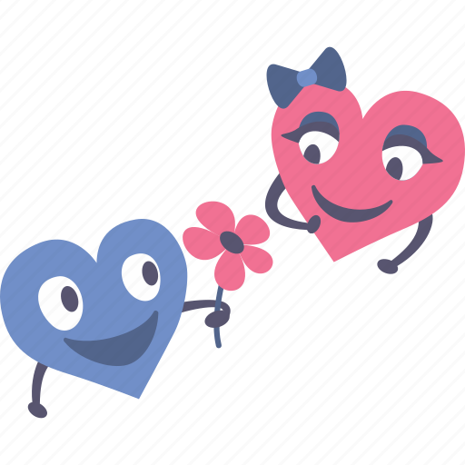 flower, gift, giving, happy, hearts, valentines icon