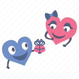 gift, giving, happy, hearts, present, valentines icon