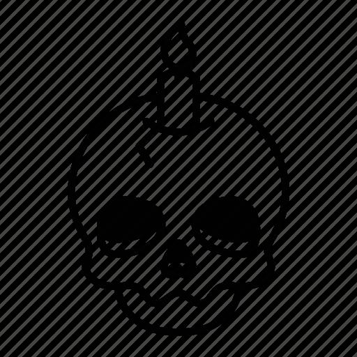 bone, candle, helloween, skull icon