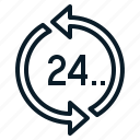 24hours, help, service, support, time icon