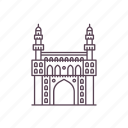 architecture, charminar, heritage, hyderabad, india, islamic, structure icon