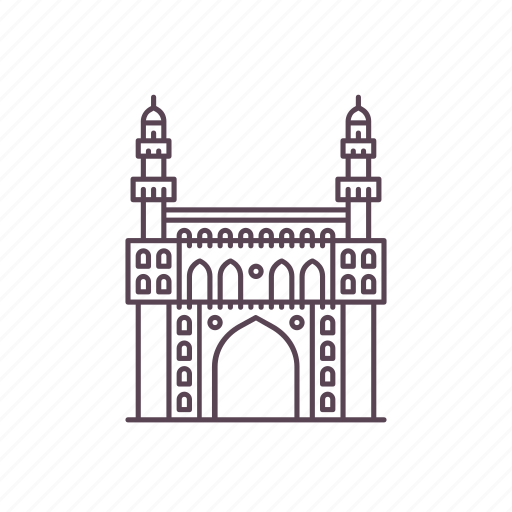 architecture, charminar, heritage, hyderabad, india, islamic, structure icon