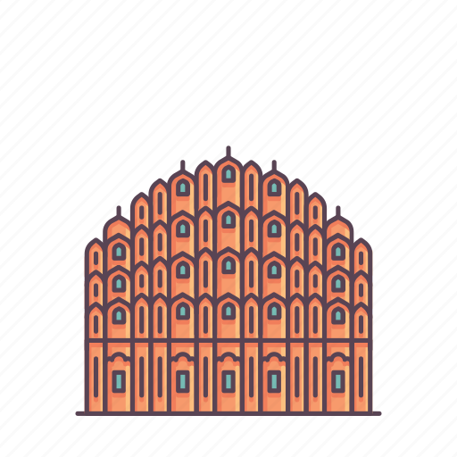 hawamahal, heritage, india, jaipur, mahal, monument, sandstone icon