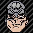 dredd, mean angel machine, robot, scar, villain icon