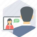 chat, communication, internet, media, online, video, video chat icon