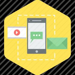 communication, inbox, media, mobile, youtube icon